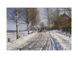 Winter Scene, Dalarne Impression giclée par Peder Mork Monsted