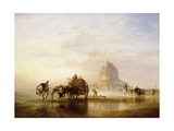 Mont St. Michel, Peasants returning to Pontorson on the approach of the Tide Giclee Print by Edward William		 Cooke