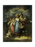 The Flower Gatherers Giclee Print by Narcisse Virgile Diaz de la Pena