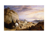 Highland Drovers and Dogs Driving their Sheep and Cattle in a Rocky Wooded Landscape Giclee Print by Richard		 Ansdell