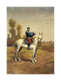 Cavalryman on a White Charger Prints by Etienne Prosper		 Berne-Bellecour