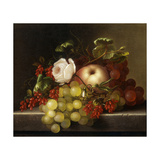 Still Life with Peach, Grapes and Rosehips Giclee Print by Dietrich Adelheid