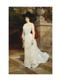 Portrait of a Lady, Standing Full Length, Wearing a Cream Dress and a Red Cloak Giclee Print by Diogene Ulyssee Maillart
