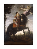An Equestrian Portrait of King Charles II Print by  Schoool of Madrid
