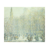 Winter in New York Giclee Print by F. Usher Voll