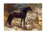 An Arab watering his Horse by a River Premium Giclee Print by Frederick Arthur		 Bridgman