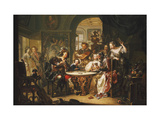 A Gentleman cheating at Cards with an elderly Lady in a sumptous Interior Giclee Print by Johann Georg		 Platzer