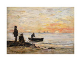 Low Tide - Shore and Fishermen at Sunset Giclee Print by Eugène Boudin