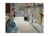 Flags in Mosnier Street Poster by Edouard		 Manet