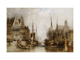 Houses of the Franc Bateliers and Church of St. Nicholas on the Canal at Ghent Giclee Print by William		 Callow