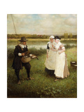 Isaac Walton and the Milkmaids Giclee Print by George Henry		 Boughton