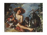 A Shepherd Piping on a Knoll, a Dog and his Flock Nearby Premium Giclee Print by Peter		 Wtewael
