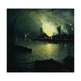 Steel Mills at Night Giclee Print by Aaron Harry		 Gorson