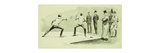 Fencing at Dickel's Academy Premium Giclee Print by Frederic Sackrider Remington
