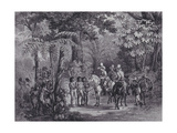 Meeting of the Indians with the European Explorers Giclee Print by Johann Moritz		 Rugendas