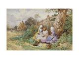 Children Reading Beside a Country Lane Reproduction procédé giclée par Myles Birket Foster