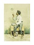 Black Boy Blowing Bubbles Lámina giclée por George Harvey