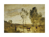 The Ford, Cows on the Edge of a Ford Art by Jean-Baptiste-Camille Corot