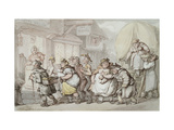 The Woolpack Inn: Arrival of 'The Flying Waggon' Giclee Print by Thomas		 Rowlandson