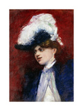Elegant Woman with Feather Hat Giclee Print by Lesser		 Ury