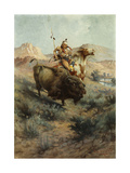Indian and Buffalo Premium Giclee Print by Edgar Samuel		 Paxson