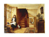 An Interior with a Girl Playing with Cats Posters by Robert		 Collinson