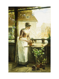 Woman Potting Flowers Posters by C. Hendrick		 Nordenberg