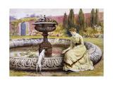 A Lady and a Dog Beside an Ornamental Pool Prints by George Goodwin Kilburne