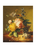 Roses and other Flowers in a Basket on a Marble Ledge Posters by Jan van		 Huysum