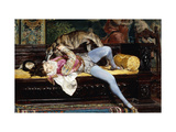 A Young Page, Playing with a Greyhound Giclee Print by Giovanni		 Boldini
