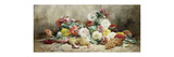 Carnations, Roses, Grapes and Peaches Premium Giclee Print by Georges		 Jeannin