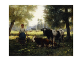 A Milkmaid with her Cows on a Summer Day Poster von Julien		 Dupre
