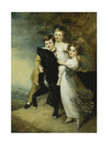 Three Children with a Dog in a Landscape Poster by Sir William Beechey