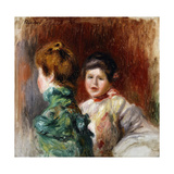 A Sketch of the Heads of Two Women Posters by Pierre-Auguste Renoir