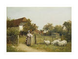 Young Girl with Sheep, by a Cottage Posters by Benjamin D.		 Sigmund