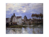The Bridge of Moret with Sunset Premium Giclee Print by Alfred		 Sisley