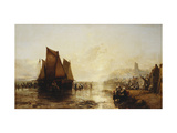 Fisherfolk Landing their Catch on Folkestone Beach Giclee Print by James		 Webb