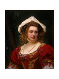 Portrait of an Elegant Lady in a Red Velvet Dress Giclee Print by Gustave Jean		 Jacquet