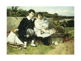 Two Children Seated on a Park Bench Giclee Print by Barbasan Lagueruela Mariano