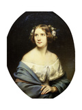 Portrait of Jenny Lind, standing half length in a White Dress and a Light Blue Shawl Giclee Print by Edouard		 Morgan