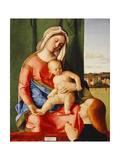 The Madonna and Child with a Male Donor, a landscape beyond Prints by Giovanni		 Bellini
