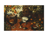 A Cock, a Hen and Chicks in a Yard Impression giclée par Thomas		 Hiepes