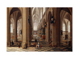 The Interior of a Gothic Cathedral with Townsfolk and Pigrims Print by the Elder, Pieter Neeffs