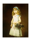 A Young Girl with a Basket of Flowers Giclee Print by Conrad		 Freyberg