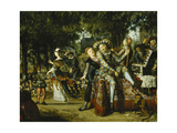 A Troop of Actors Performing Before a Crowd Giclee Print by Matthys		 Naiveu