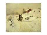 A Horse-Drawn Sleigh in a Winter Landscape Giclee Print by Frits		 Thaulow