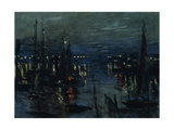 The Port of Le Havre, Night Effect Art by Claude Monet