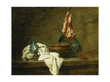 Beets, a Spice Box, a Dishcloth, a Pot, a Glazed Earthenware Plate, a Skimmer, with Meat on a Hook Art by Jean-Simeon Chardin
