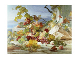 Peaches and Grapes in a Rocky Landscape Giclée-Druck von Theude Gronland