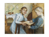 An Interior with a Boy Reading to a Girl Giclee Print by Maria		 Wiik